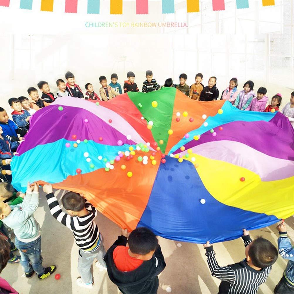 8 Couleurs TOYANDONA 2M Enfants Jouer Parachute Jouer Tentes Enfants Jeu Rainbow Parachute Jeu en Plein Air Pique-Nique en Plein Air Couverture Tapis pour Enfants