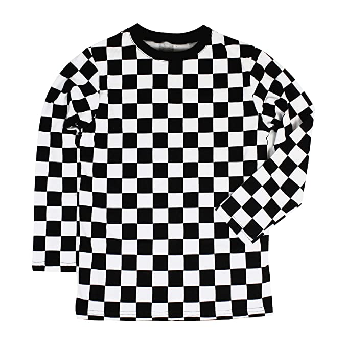 Child Rad 80 S Checkered Black And White Long Sleeve Shirt