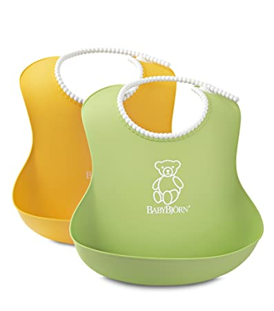 425545745df Amazon.com   BABYBJORN Soft Bib - Green Yellow 2 Pack   Baby Bibs   Baby