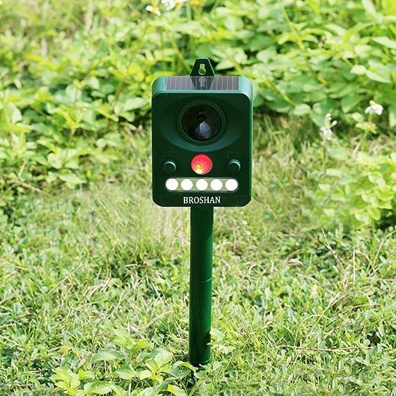 Potente Ahuyentador de animales Solar jardín ultrasónico Disuasión, electrónico ultrasónico con control para pájaros y animales, funciona con pilas ...