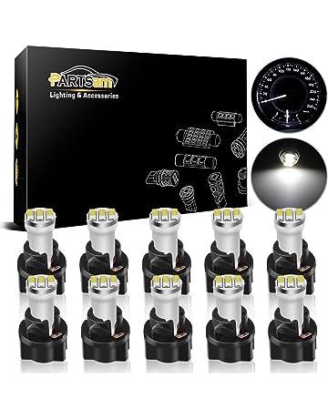 Partsam 10Pack White Twist Socket T5 73 74 3528 SMD LED Gauge Cluster Bulbs Dashboard Light