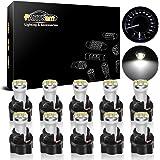 Partsam 10Pack White Twist Socket T5 73 74 3528 SMD LED Gauge Cluster Bulbs Dashboard Light Lamp Instrument Panel…