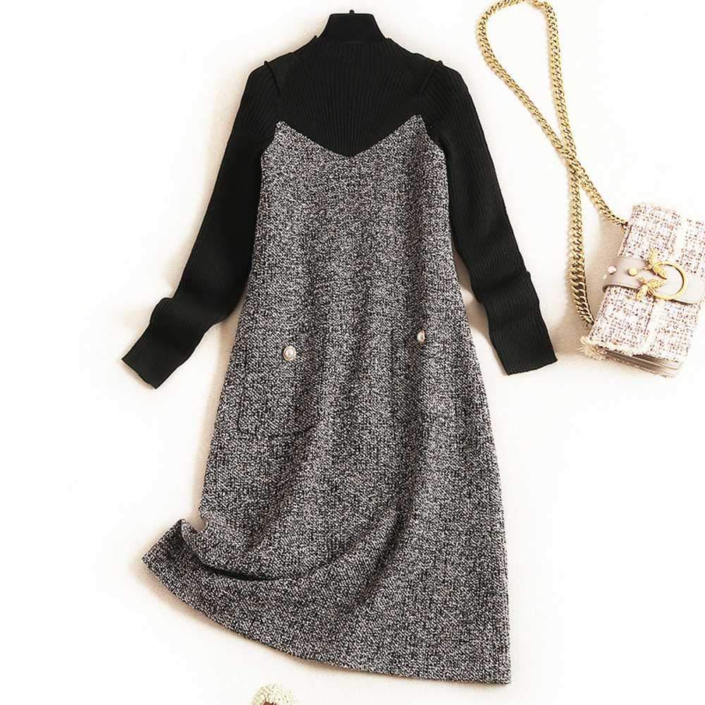 WEPL - Falda de Punto con Frases pequeñas y Costuras Gris Gris 44 ...