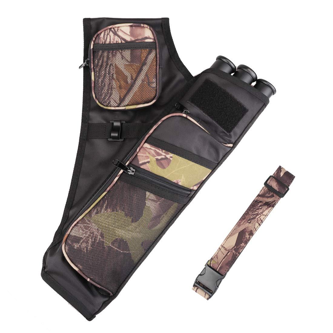 Kratarc 3-Tubes Hip Quiver Waist Hanged Camouflage Arrow Archery Carry Bag with Pockets Adjustable Belt (Camo)
