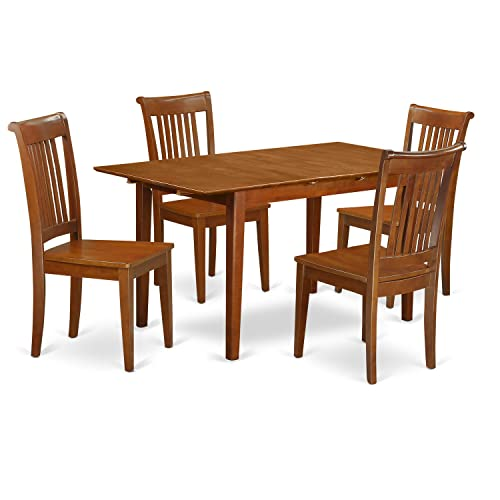 PSPO5-SBR-W 5 PC Kitchen Table set Table with Leaf and 4 Kitchen Chairs