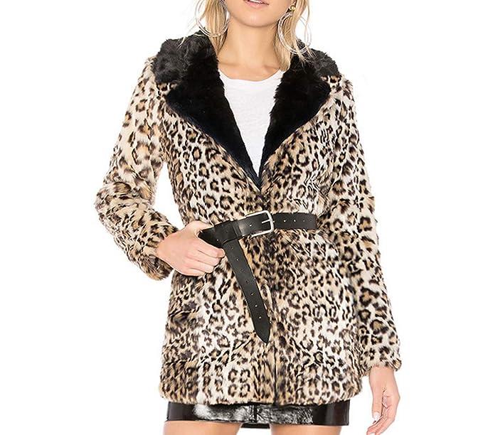DEELIN Abrigo De Leopardo De Las Mujeres, Moda De Invierno Sexy Oveja Falsa Cordero Leopardo De ImpresióN Solapa Chaqueta Larga: Amazon.es: Ropa y ...