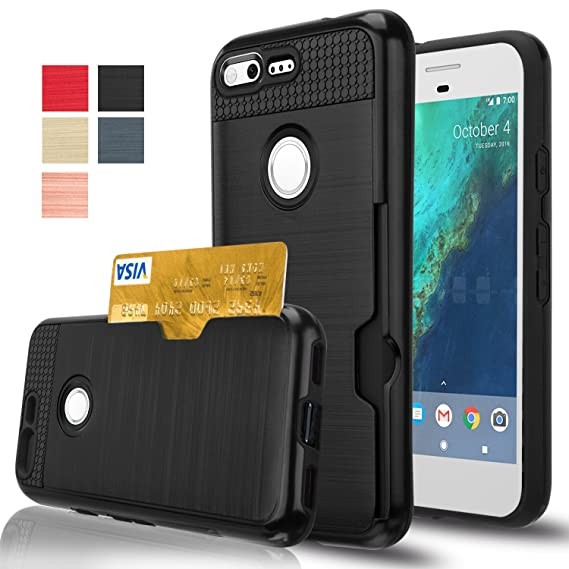low priced e810c 8bc6b Google Pixel Case, AnoKe [Credit Card Slots Holder][Not Wallet] Hard  silicone Rubber Hybrid Armor Shockproof Protective Holster Cover Case for  Google ...