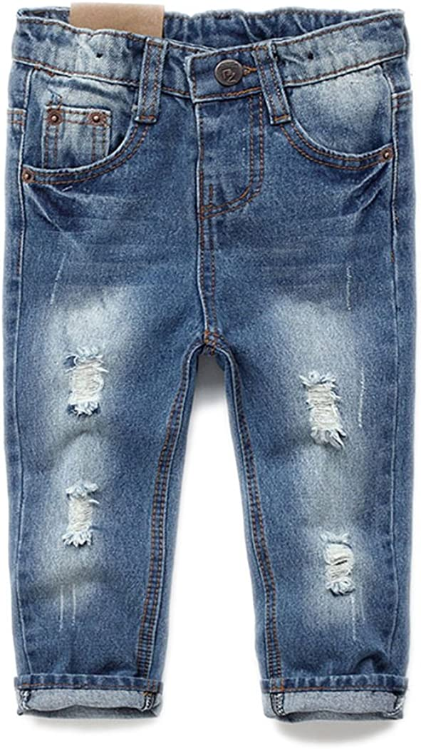 Kidscool Baby & Toddler Elastic Waist Ripped Holes Soft Jeans