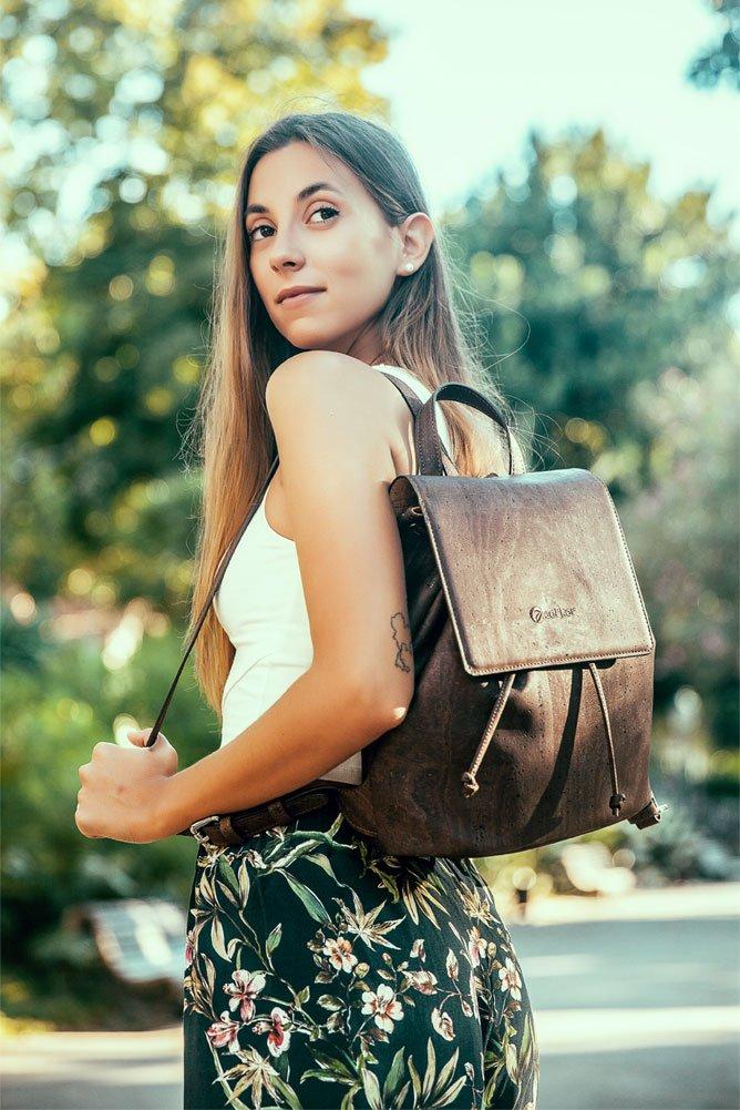 Corkor Cork Backpack - Vegan Handbag For Women Top Flap Back Pack Travel School Natural Zebra by Corkor (Image #5)