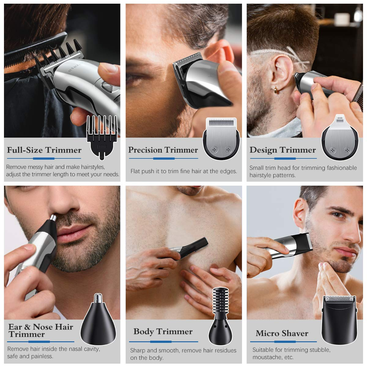 Mens Hair Clippers, 14-in-1 Beard Trimmer Set for Men Professional Cordless Hair Trimmer Electric Shavers