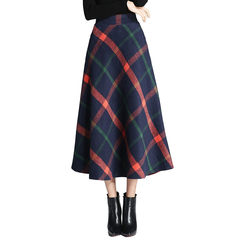 Qz103 Redbluee Nantersan Women's Winter Warm Flare Long Plaid Skirt Hairy High Elastic Waist Maxi Skirt Aline Plaid Skirts