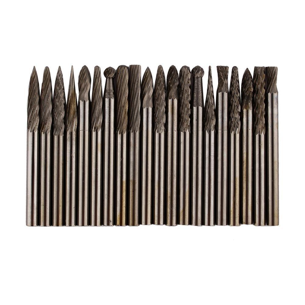 Juego de 20 limas rotativas de carburo de acero de tungsteno s/ólido de 3 mm para grabado de taladros de carpinter/ía