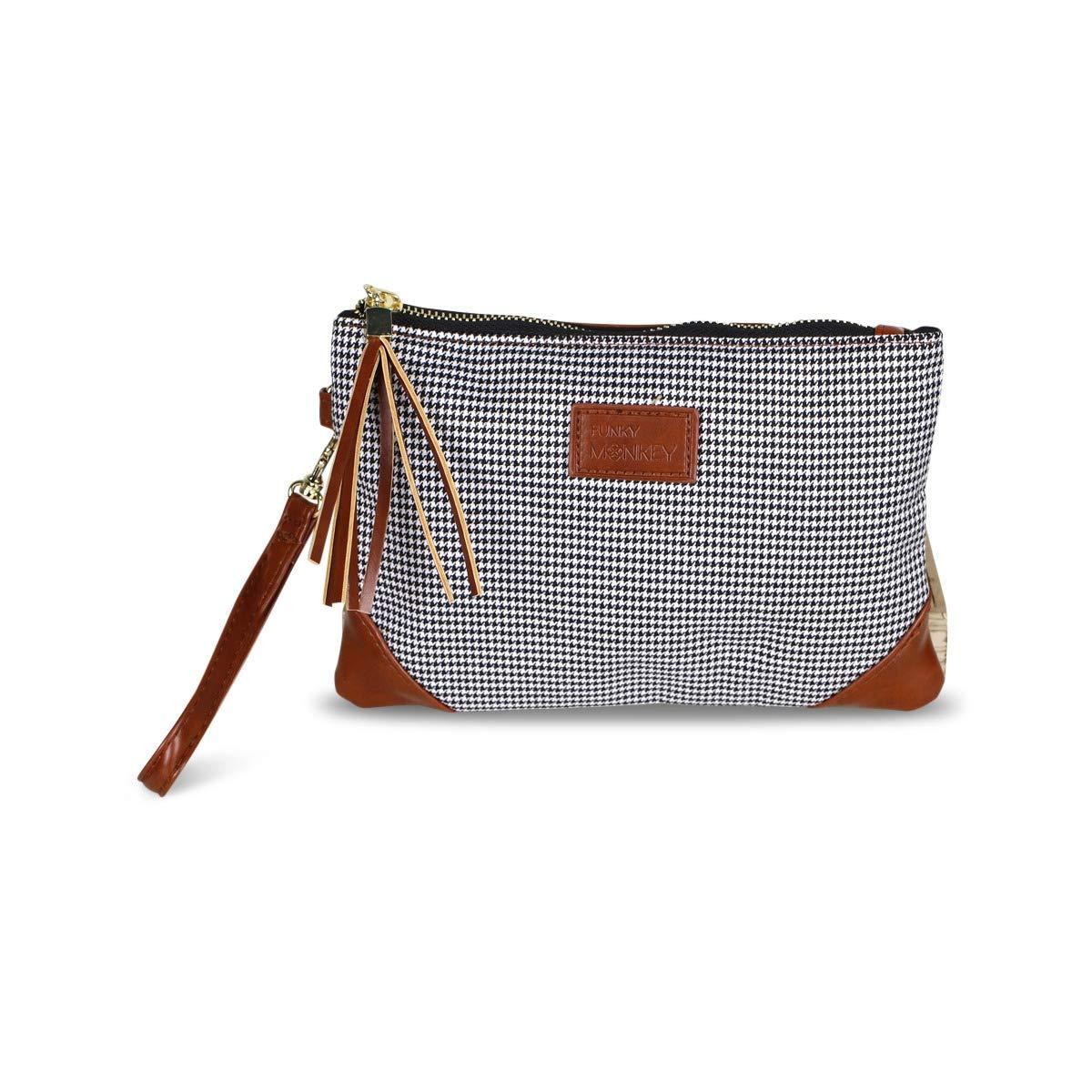 Corner Detail Vegan Tartan Wristlet Wallet Clutch Bag Phone Purse Handbag Funky Monkey Fashion