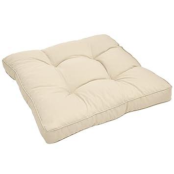 Beautissu Cojines para Muebles de jardín XLuna Lounge sillas de Mimbre de Exterior Asiento Grueso Acolchado Aprox. 40x40x10 Natural