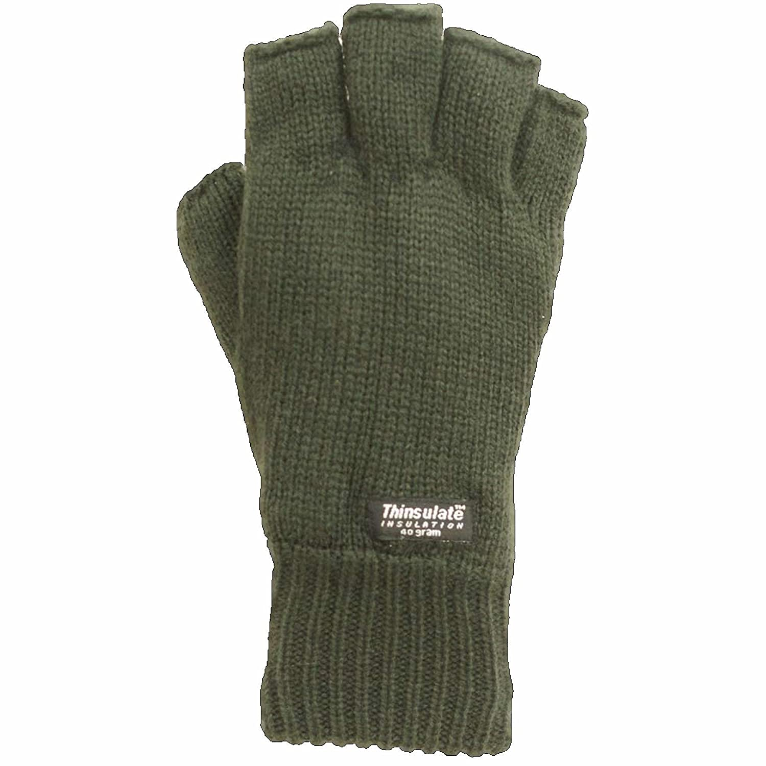 mens fingerless gloves thinsulate green olive black camo fishing fleece lined