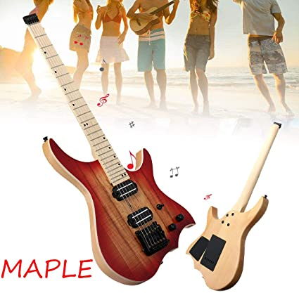 FidgetFidget Guitarra eléctrica sin cabeza, cuerpo de madera de ...