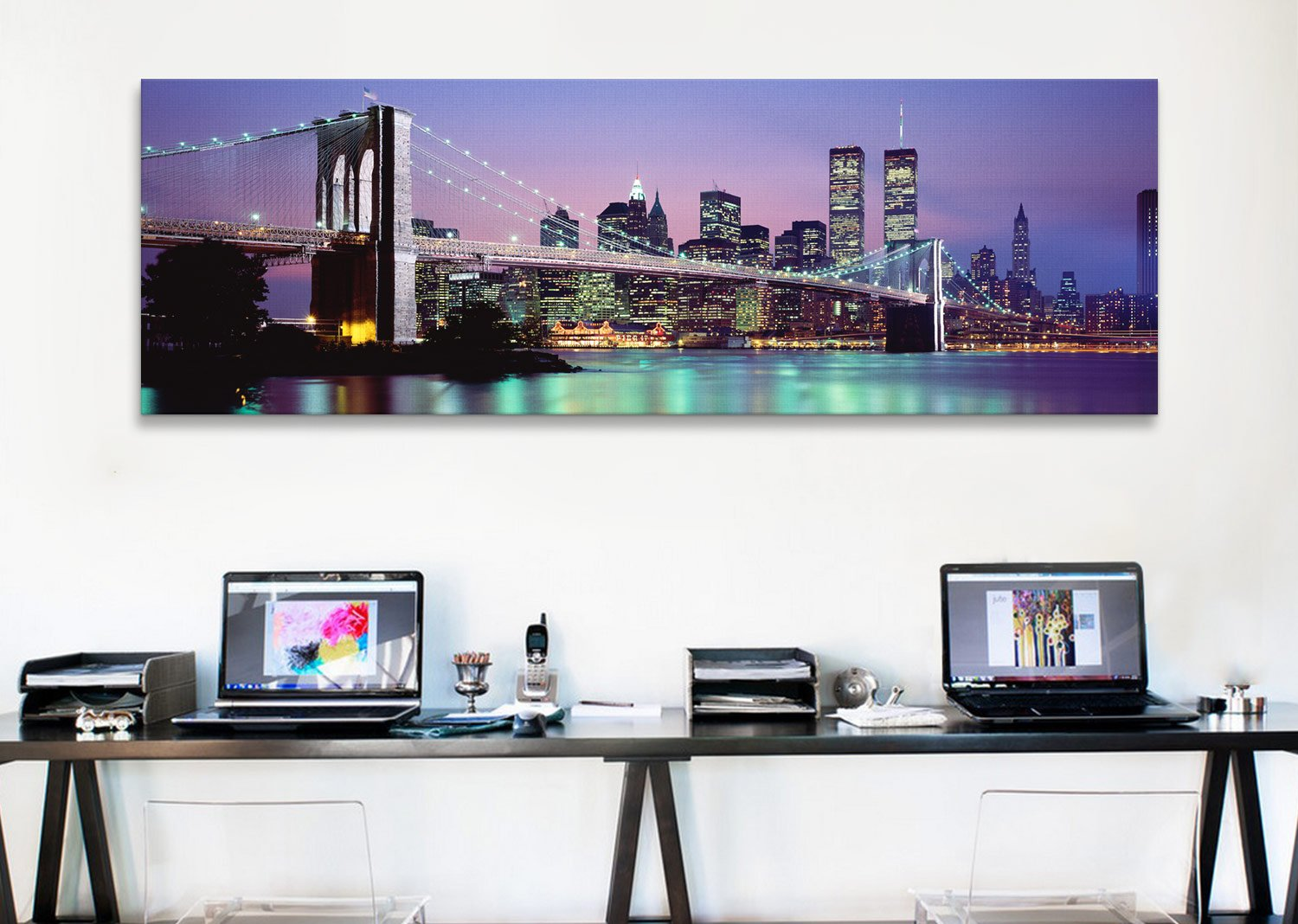 iCanvasART Brooklyn Bridge Across East River at Dusk, New York City by Panoramic Images Canvas Art Print, 36 by 12-Inch