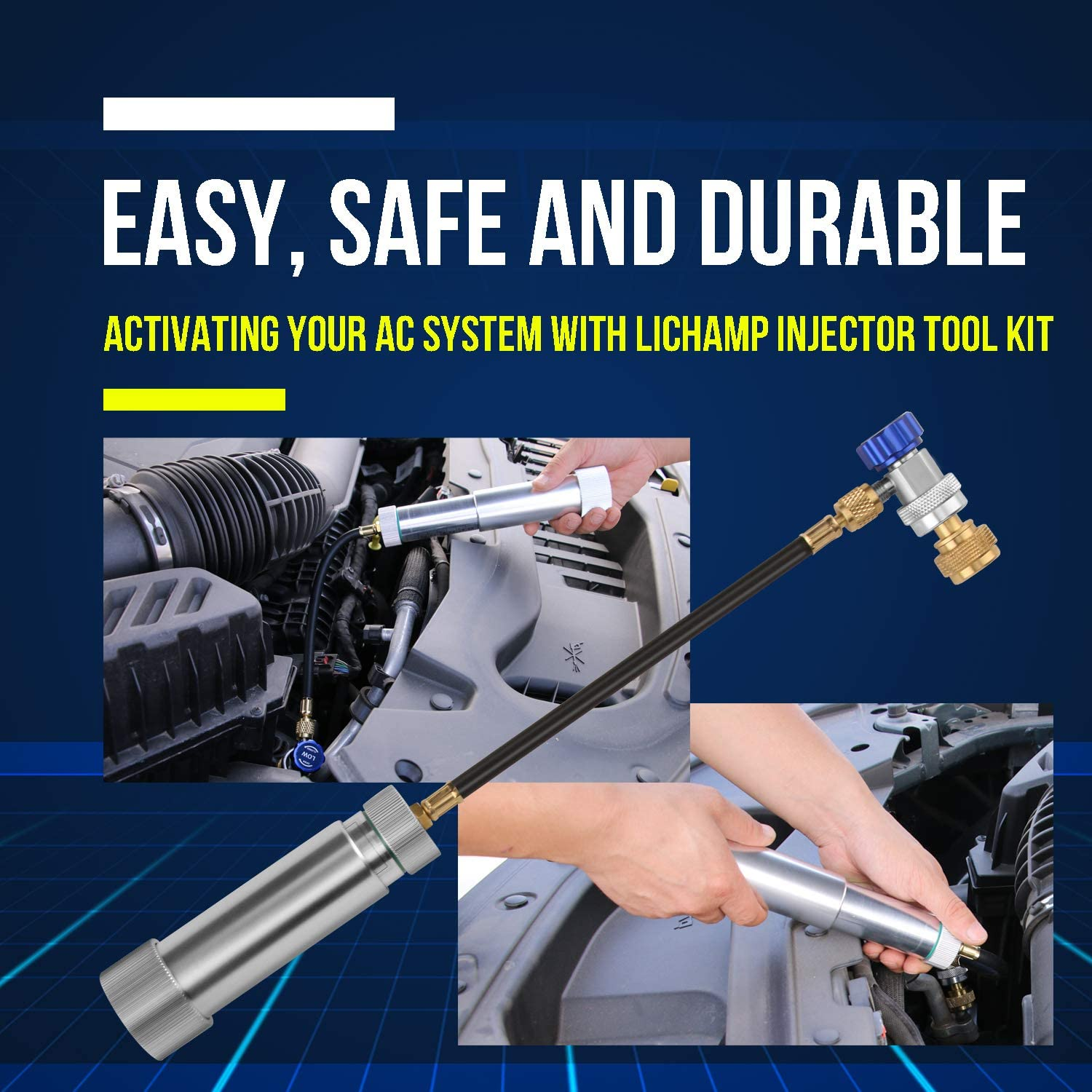 Include Adjustable Coupler and Oil Checkers Lichamp AC Compressor Oil Dye Injector Tool Kit for R134A R1234YF Refrigerant