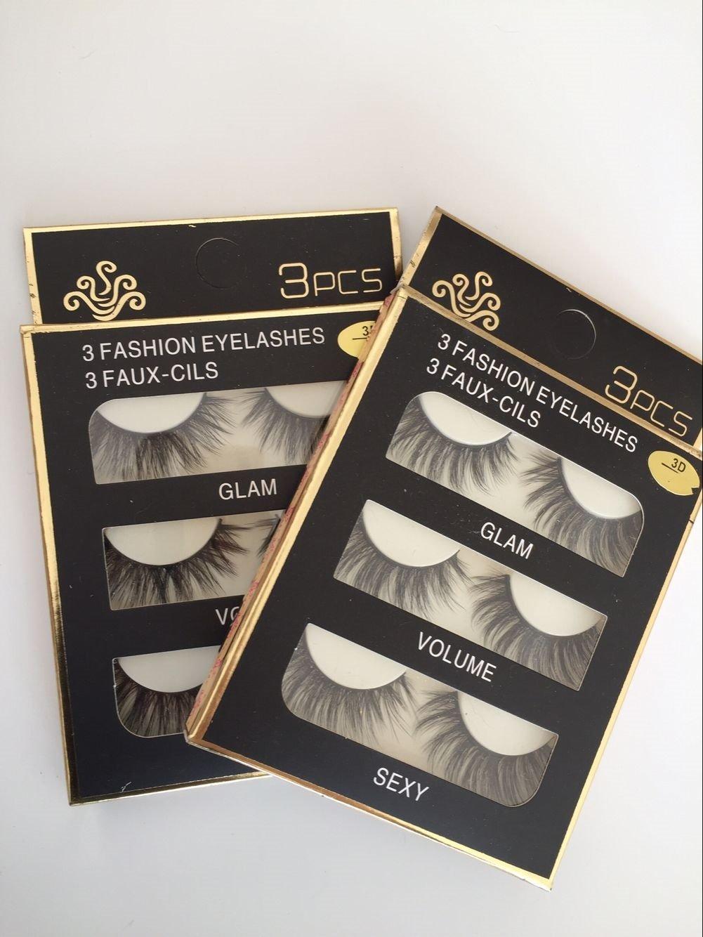 Sunniess Hair Imported Fiber 3D Mink False Eye lashes Handmade Reusable Long Cross Makeup Natural 3D Fake Thick Black EyeLashes 6 Pairs(3D-01)