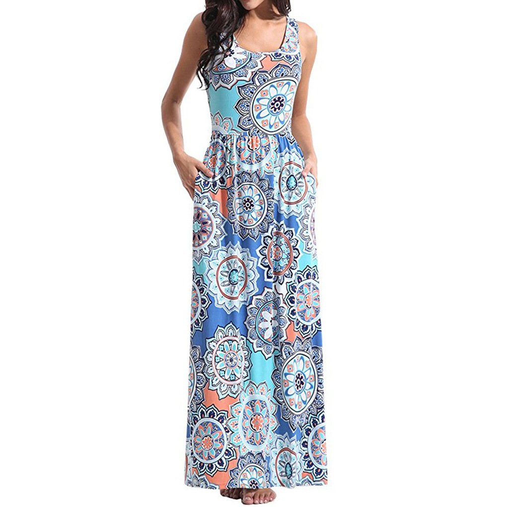 5008fbe89c Floral pattern printed style and two pockets in the two side of the long  summer dresses ...
