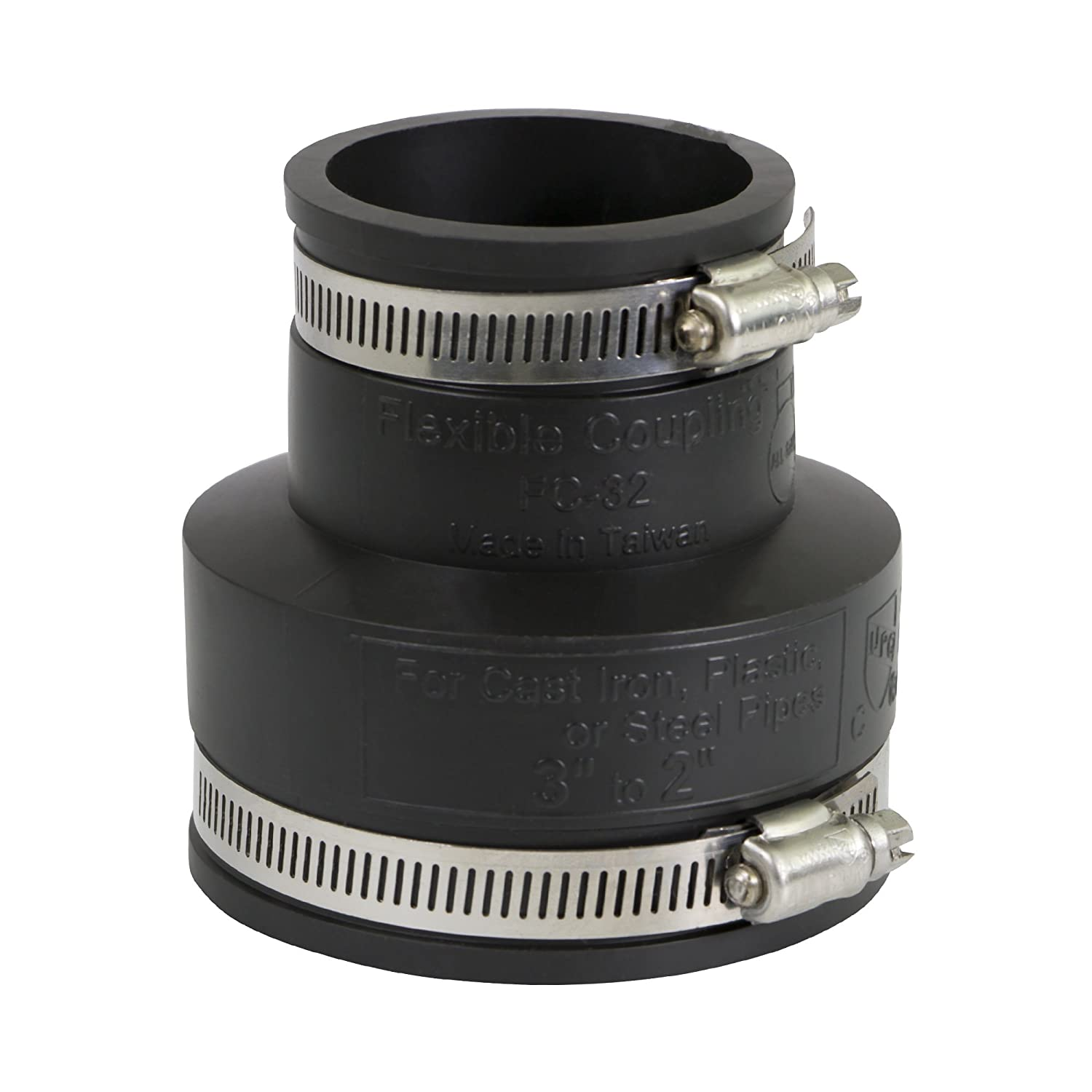 """EVERFLOW, 4833 , 3 x 2"""" Black Flexible Pvc Rubber Coupling with Stainless Steel Clamps, M78456"""