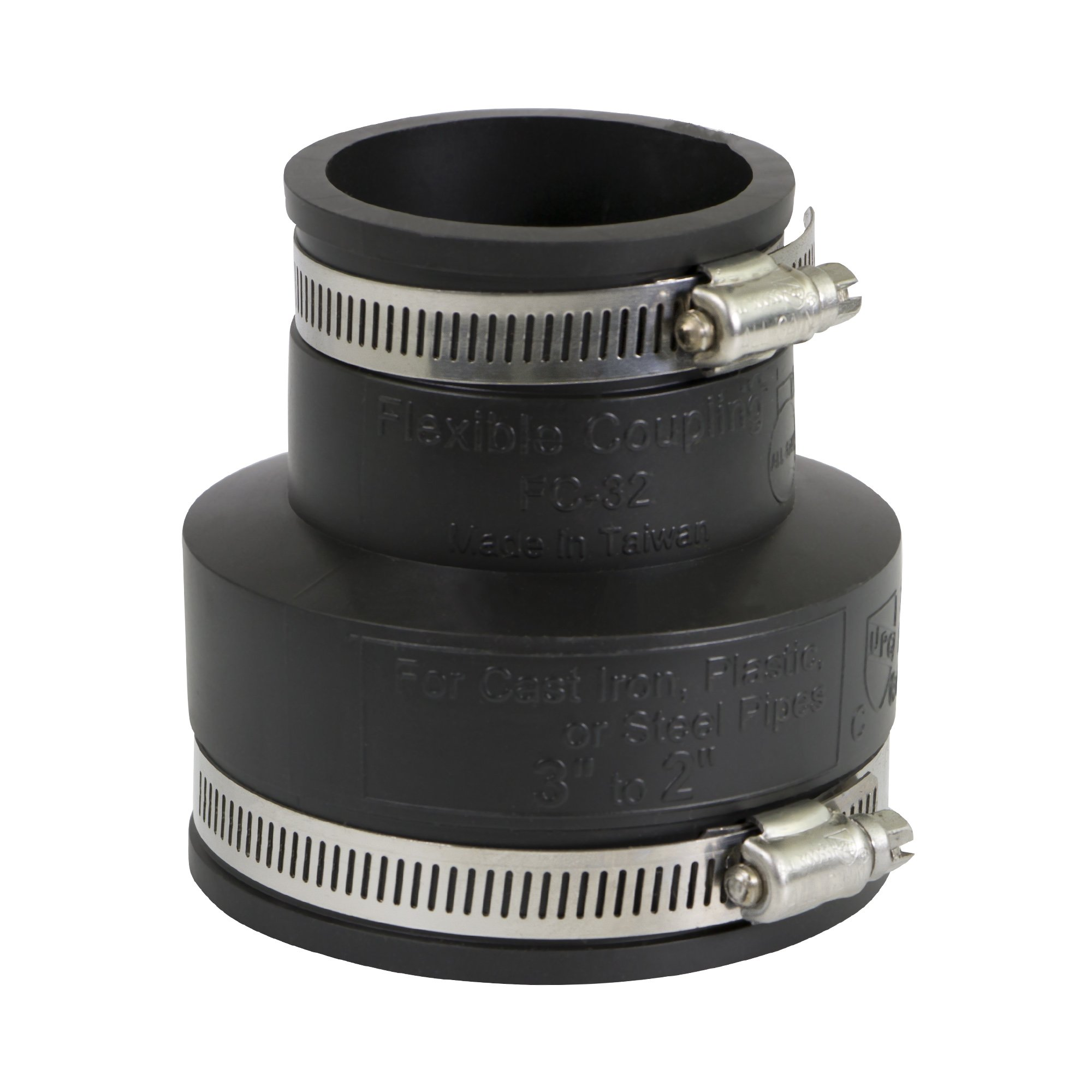 EVERCONNECT 4833x4 Flexible PVC Reducing Coupling with Stainless Steel clamps, 3 x 2, Black (Pack of 4)