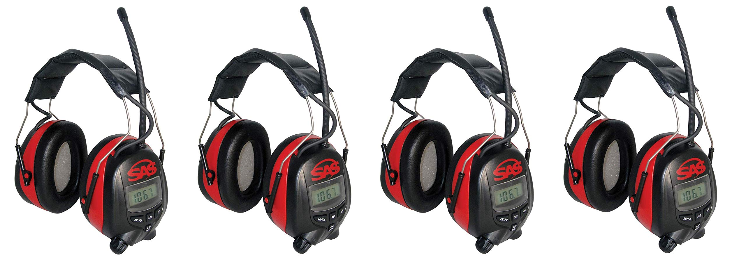 SAS Safety 6108 Digital Earmuff Hearing Protection with AM/FM Radio and MP-3 Ready (4-Pack)