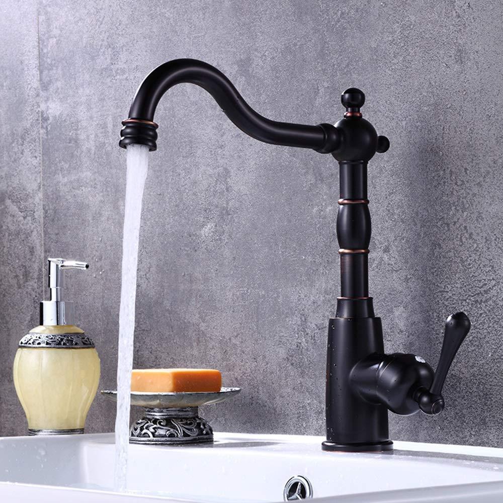 Durable Black arc Basin Faucet Copper Black Ancient Table Basin Faucet Hot And Cold Water Faucet Copper Faucet practical