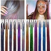 """47""""Haar Klatergoud 12 Kleuren 2400 Strengen Sprankelend Glanzend, Feestelijke Hoogtepunten Glitter Haarextensies…"""