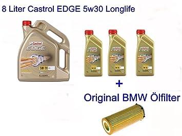 Aceite para el motor Edge 5w30 de Castrol, 8 l (BMW E46 E90 E92 E60 E61E61 E83 E70 E71 X3 X5 X6): Amazon.es: Coche y moto