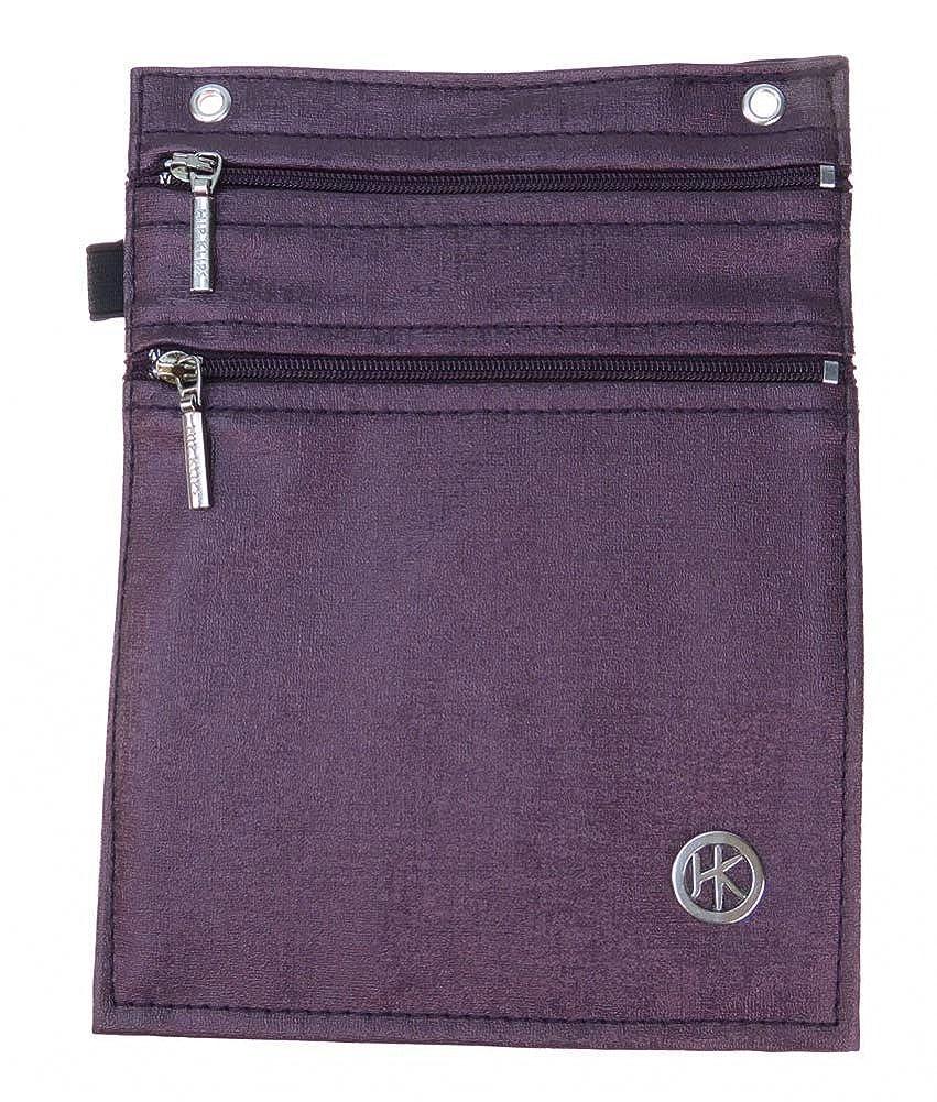 Faux Leather Large w//Elastic Loop Hip Klip Double Zip Purple Passion