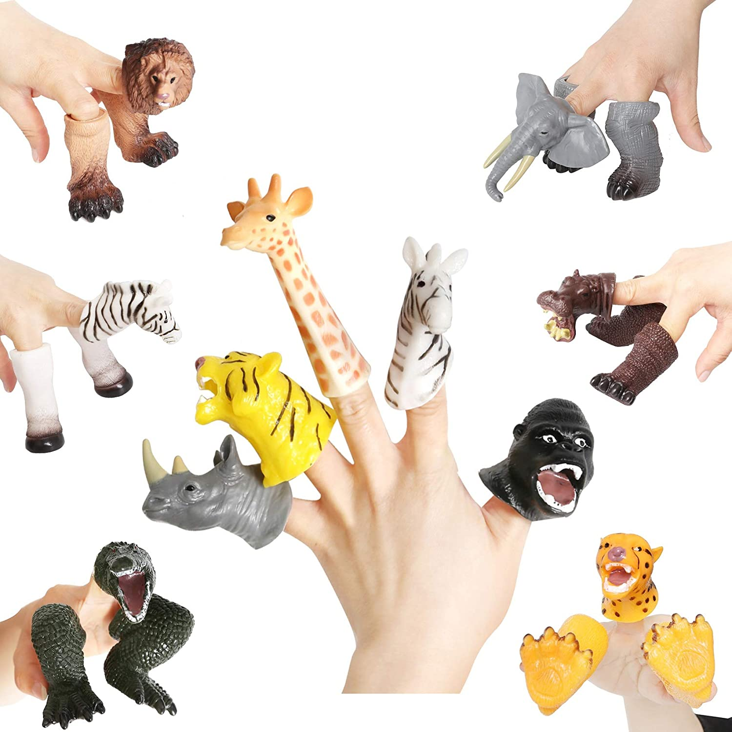 BBQ Star 10 PCs Rubber Animal Bath Finger Puppets for Kids Educational Story Time Gift Dinosaur Head Finger Toys for Party Favors Goodie Bags Fillers Classroom Prizes Pinata Fillers Type-1-10pcs