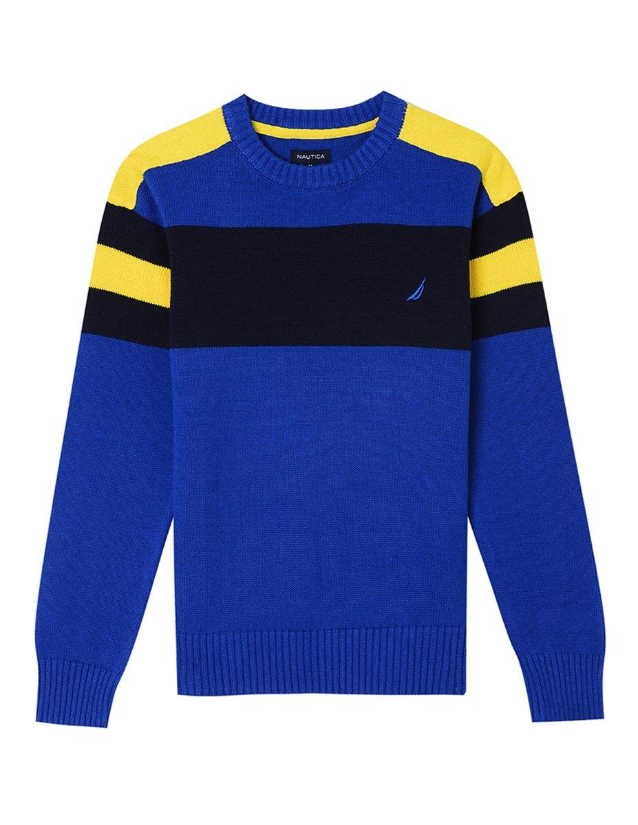 Nautica Boys' Toddler Crew Neck Stripe Sweater, Cruise Cobalt, 3T