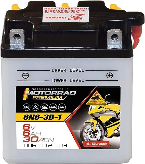 Panther 6n6 3b 1 Motorradbatterie 6v 6ah Oldtimer Batterie 00612 Auto