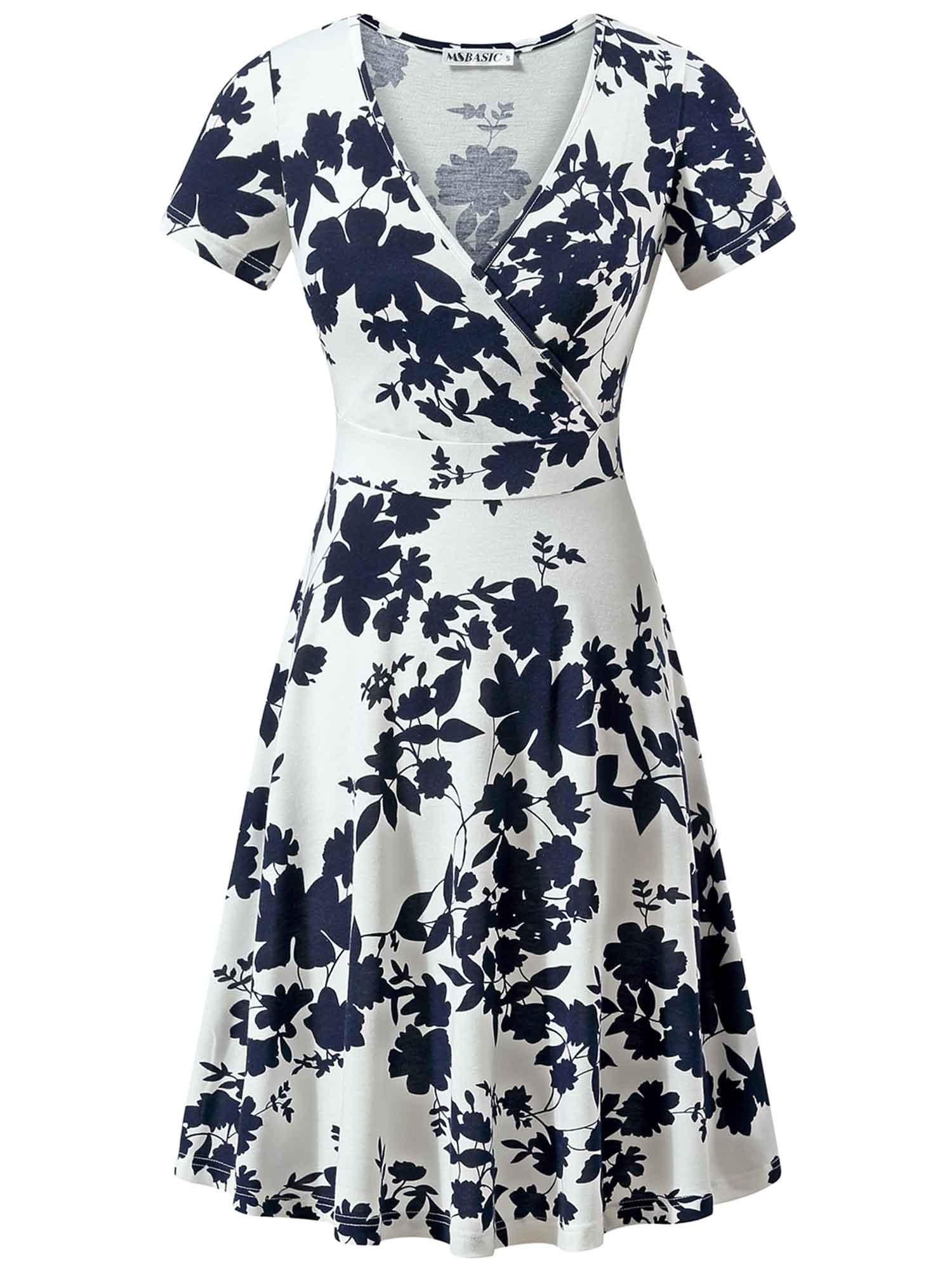 MSBASIC Flare Sundress, Graduation Dress for Juniors Navy Flowers XL