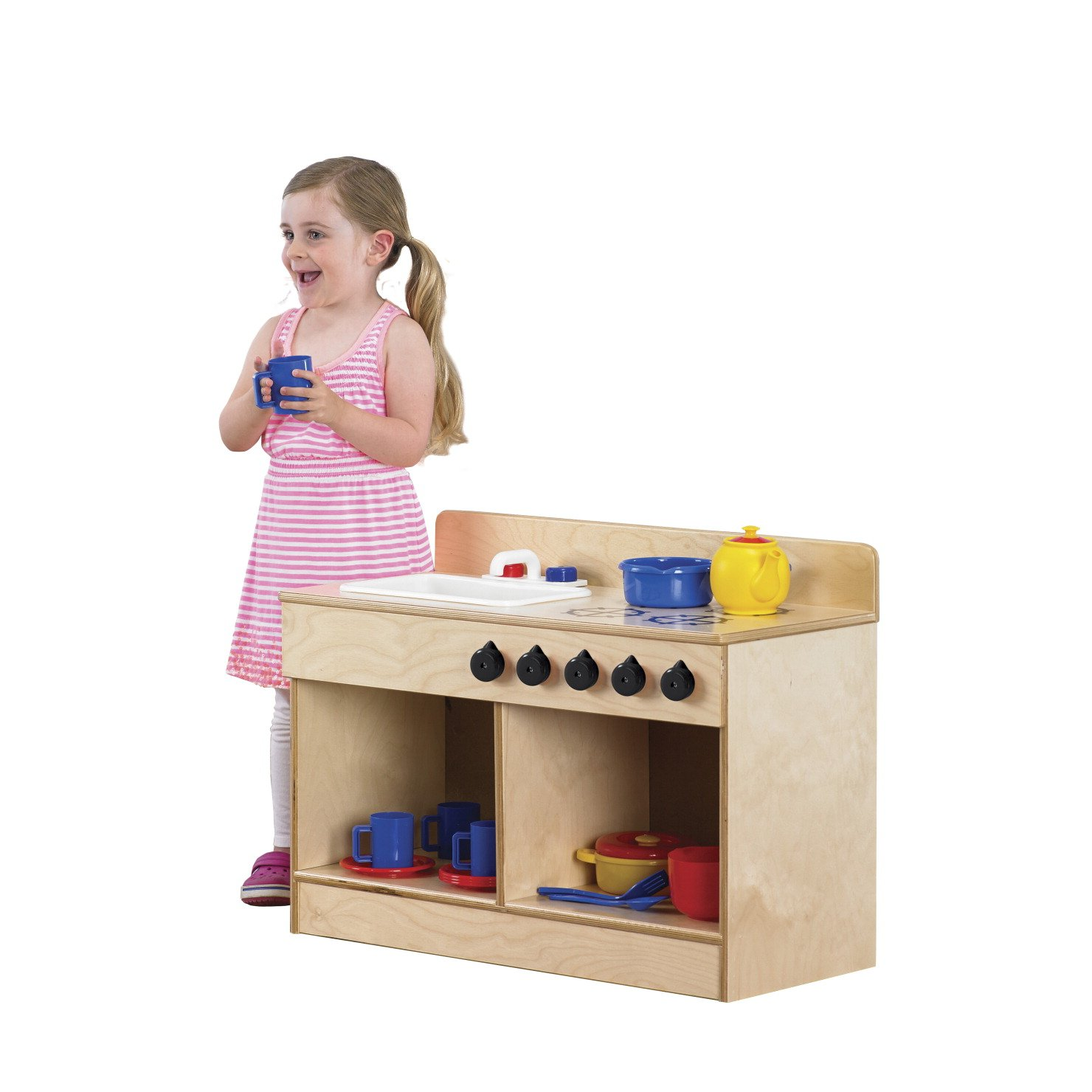 Childcraft 1491196 Toddler Sink and Stove Combo, 21.5'' Height, 13.38'' Width, 29.5'' Length, Natural Wood by Childcraft (Image #8)