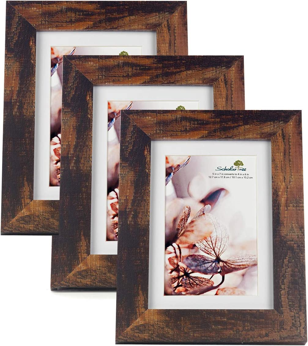 Amazon Com Scholartree Wooden Brown 5x7 Picture Frame 3 Set In 1 Pack Or 5x7 Frame Or 11x14 Photo Frame Home Kitchen