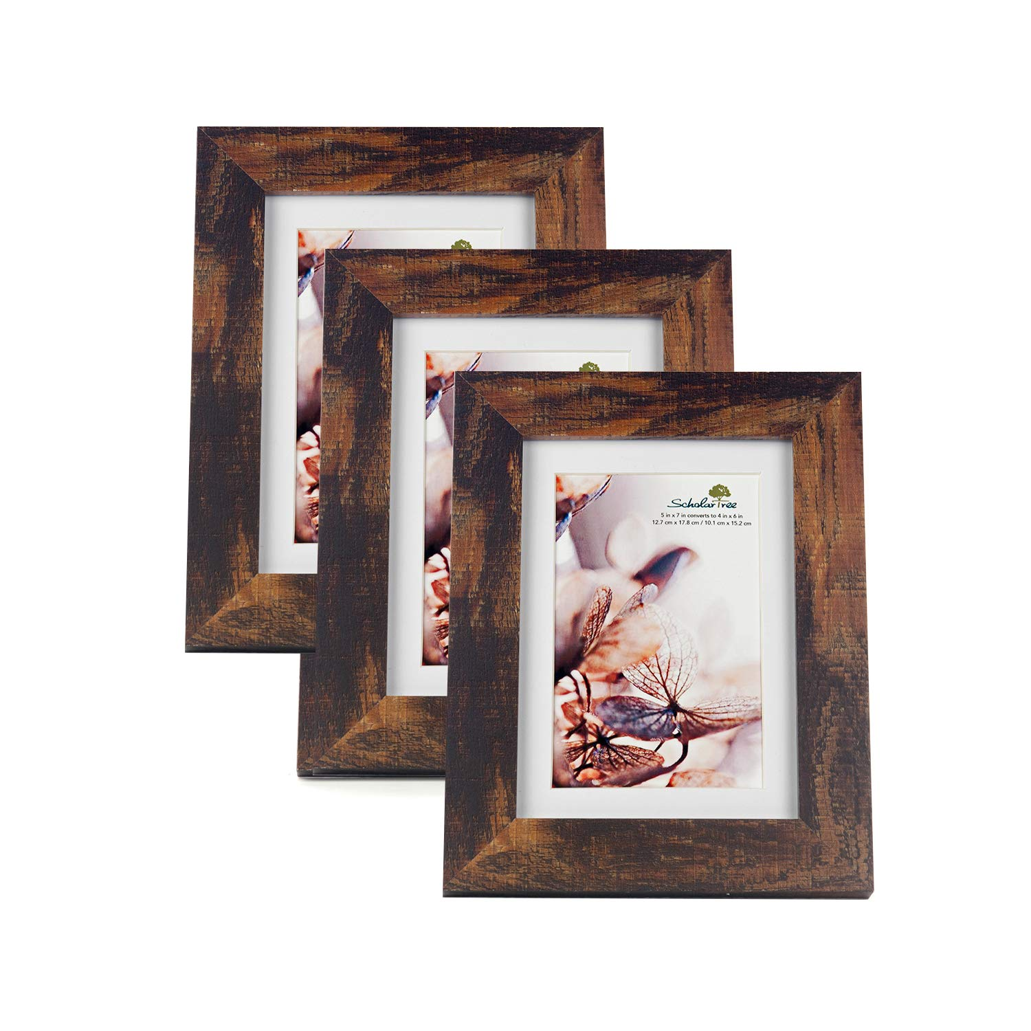 Scholar tree Wooden Picture Frame Photo Frames 5 x 7 inches, 8 x 10 inches, 11 x 14 inches (Brown, 5 x 7 inches) by Scholar tree