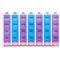 PuTwo Pill Box 7 Days 4 Times a Day 28 Compartments Pill Organiser With Push Button Medicine Box BPA Free Medicine Organiser Easy Open for Vitamin Fish Oil Supplements Medication - Blue & Purple