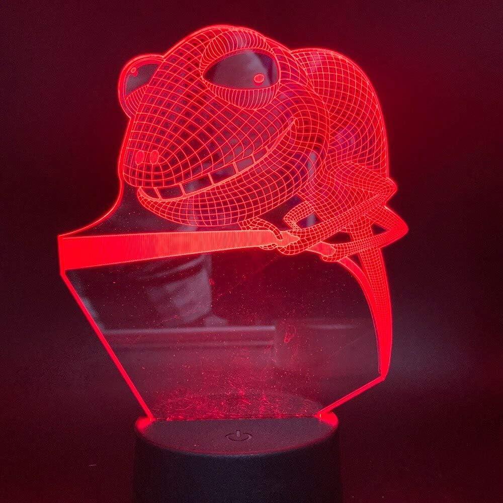Lámpara 3D Luz de rana de árbol Dormitorio de niños Luz de noche Cambio de color operado Luz de noche Led Regalo para niños
