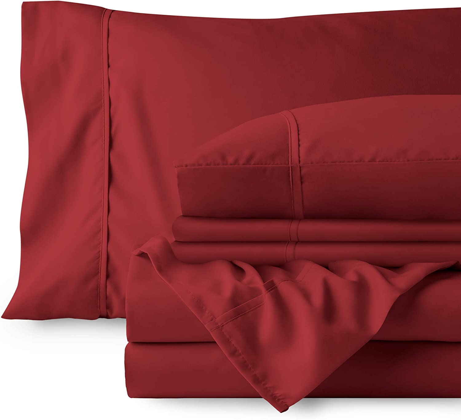 Bare Home 4 Piece 1800 Deep Pocket Bed Sheet Set - Twin Extra Long - Ultra-Soft Hypoallergenic - 2 Pillowcases (Twin XL, Red)