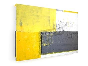 Grau Und Gelb Kunst Malerei   60x40 Cm   Leinwandbild Auf Keilrahmen   Wand