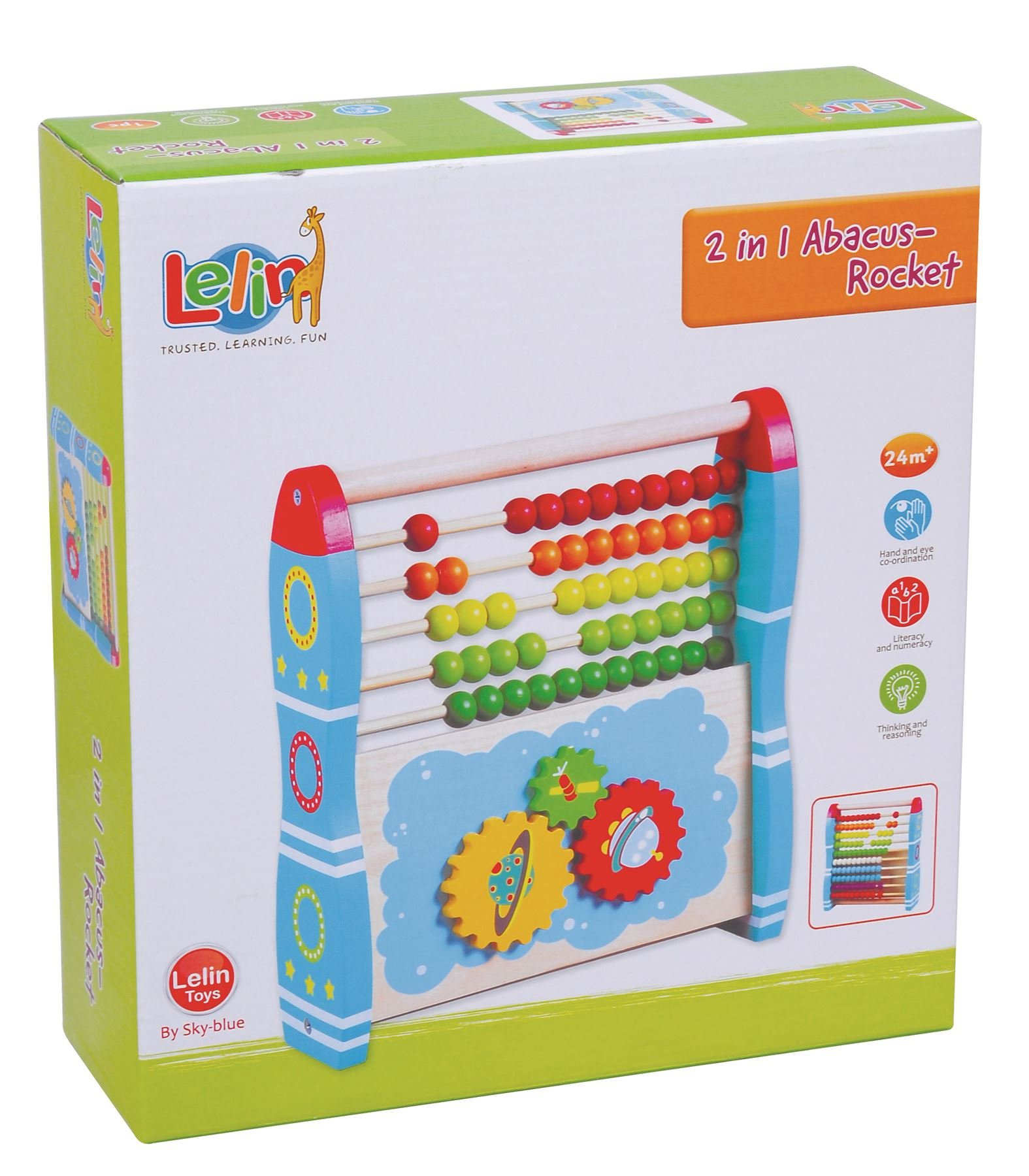 Lelin Wooden Toys 2 In 1 Abacus Rocket Learning Number For Childrens Kids 24 M+