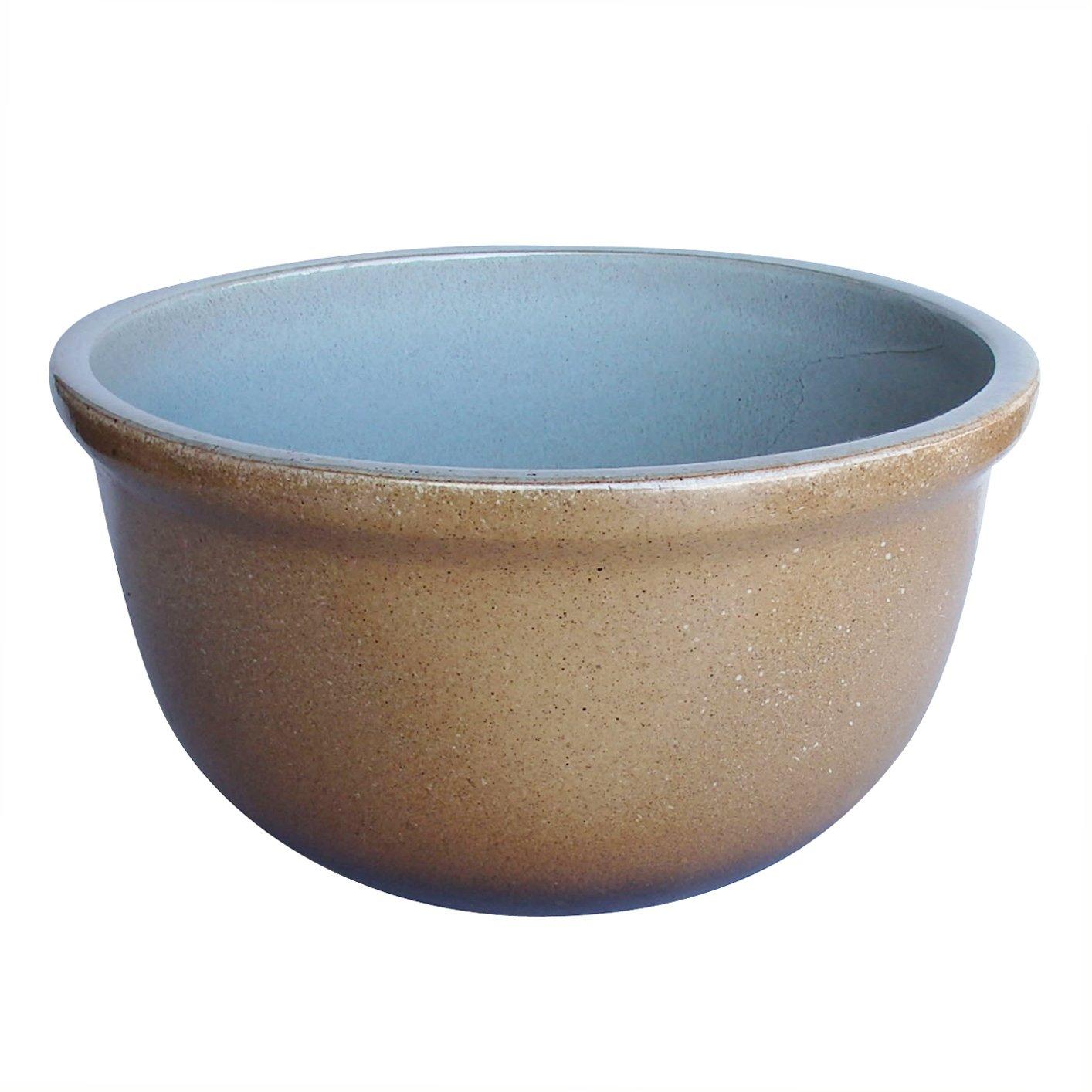 14号 睡蓮鉢 丸型浅 黄土色+茶色 水鉢 容量21.5 リットル 陶器 おしゃれ F14 B01MYG0T77