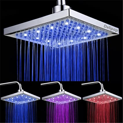 Delicieux DELIPOP HN 11 LED Shower Head Temperature 3 Color Changing 8 Inch Square  ABS Chrome