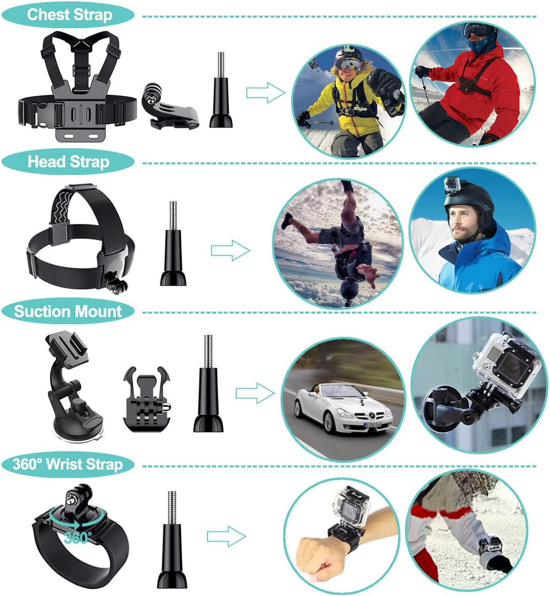 Anti-Lost Buckle Safety Set Mount With 3M Sticker Kit For Gopro Hero Full Range