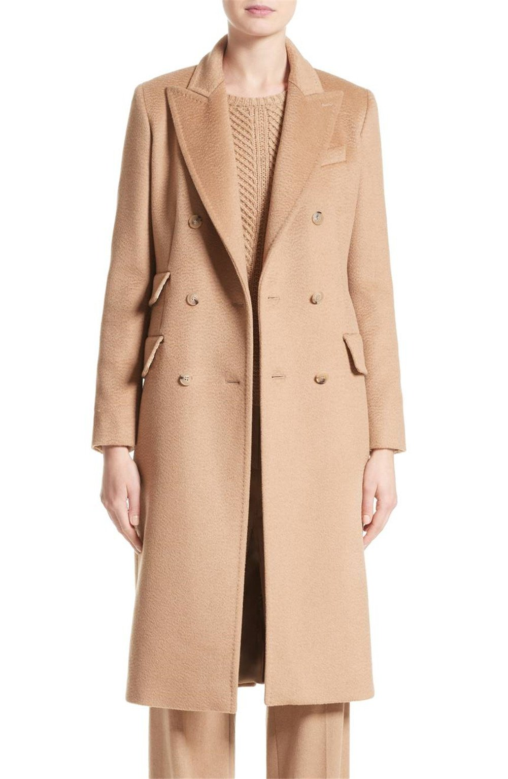WORLD CLAN Women's Long Wool/Cashmere Double Breasted Brown Camel Hair Derris Trench Coat, Luxurious Winter Parkas Jackets (L)