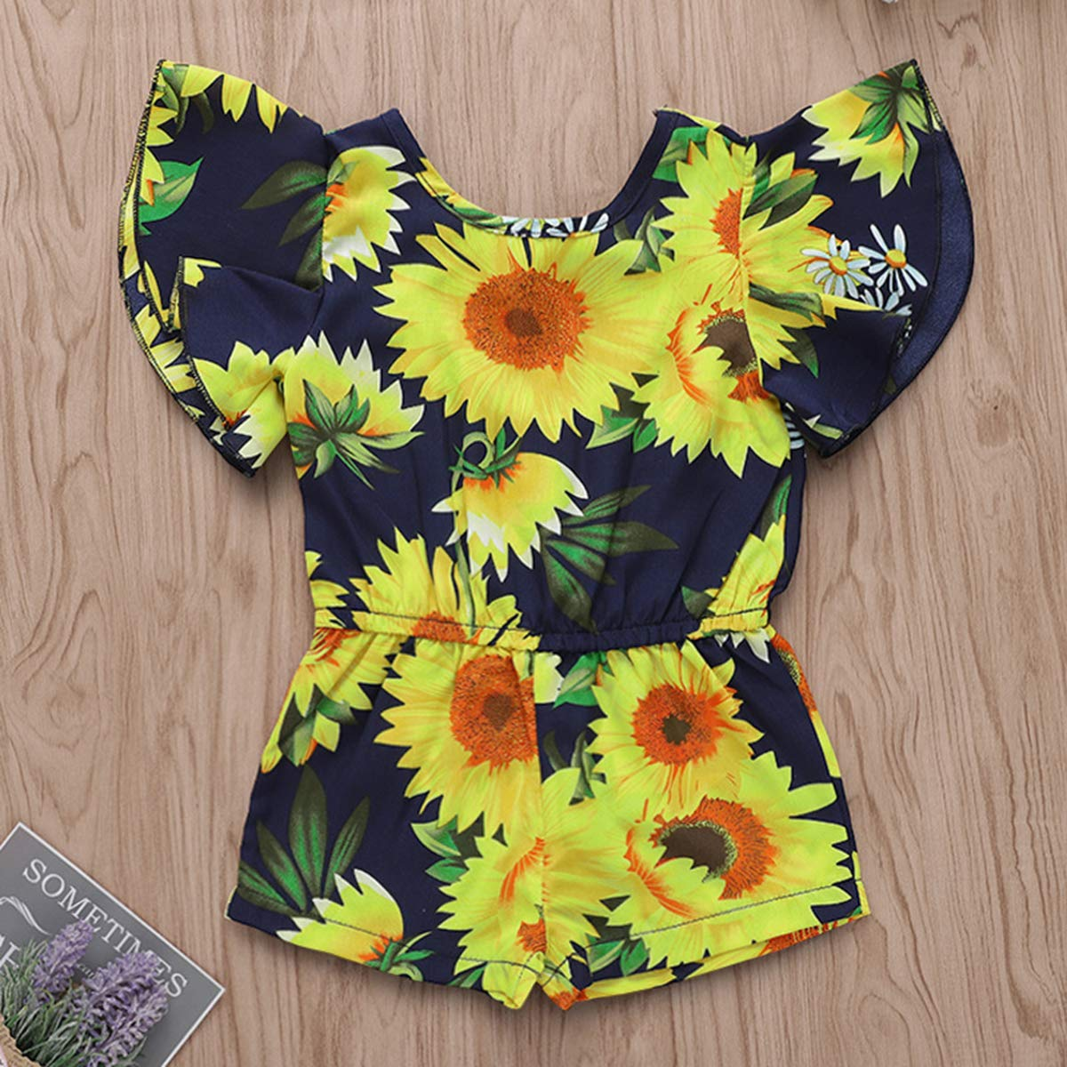 YOUNGER TREE Kids Toddler Baby Girls Summer Outfit Sunflower Backless/Overall Romper Jumpsuit Sunsuit Short Trousers Clothes