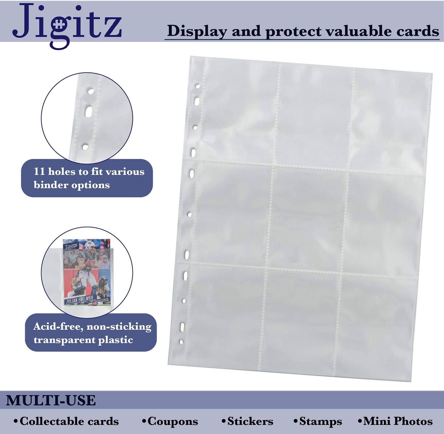 50pg Jigitz Trading Card Binder Sleeves 9 Pocket Trading Card Pages Collectable Card Game and Baseball Card Sleeves