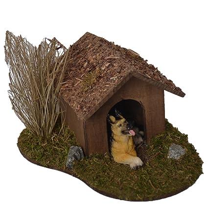 Alfred Kolbe Krippen AM 19 - Accesorios para belén (caseta de perro con arbusto y